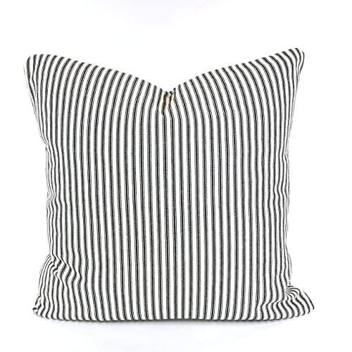 Gray Ticking Pillow Decorative Pillow Gray Ticking Pillow Ticking Stripe Pillow Farmhouse Pillow Ticking Pillow COVER