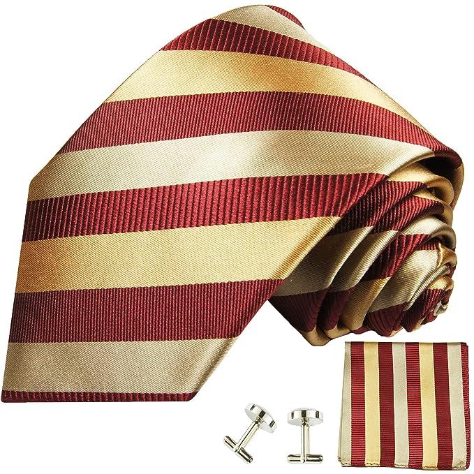 Paul Malone Corbata de color rojo burdeos oro 100% Seda para ...