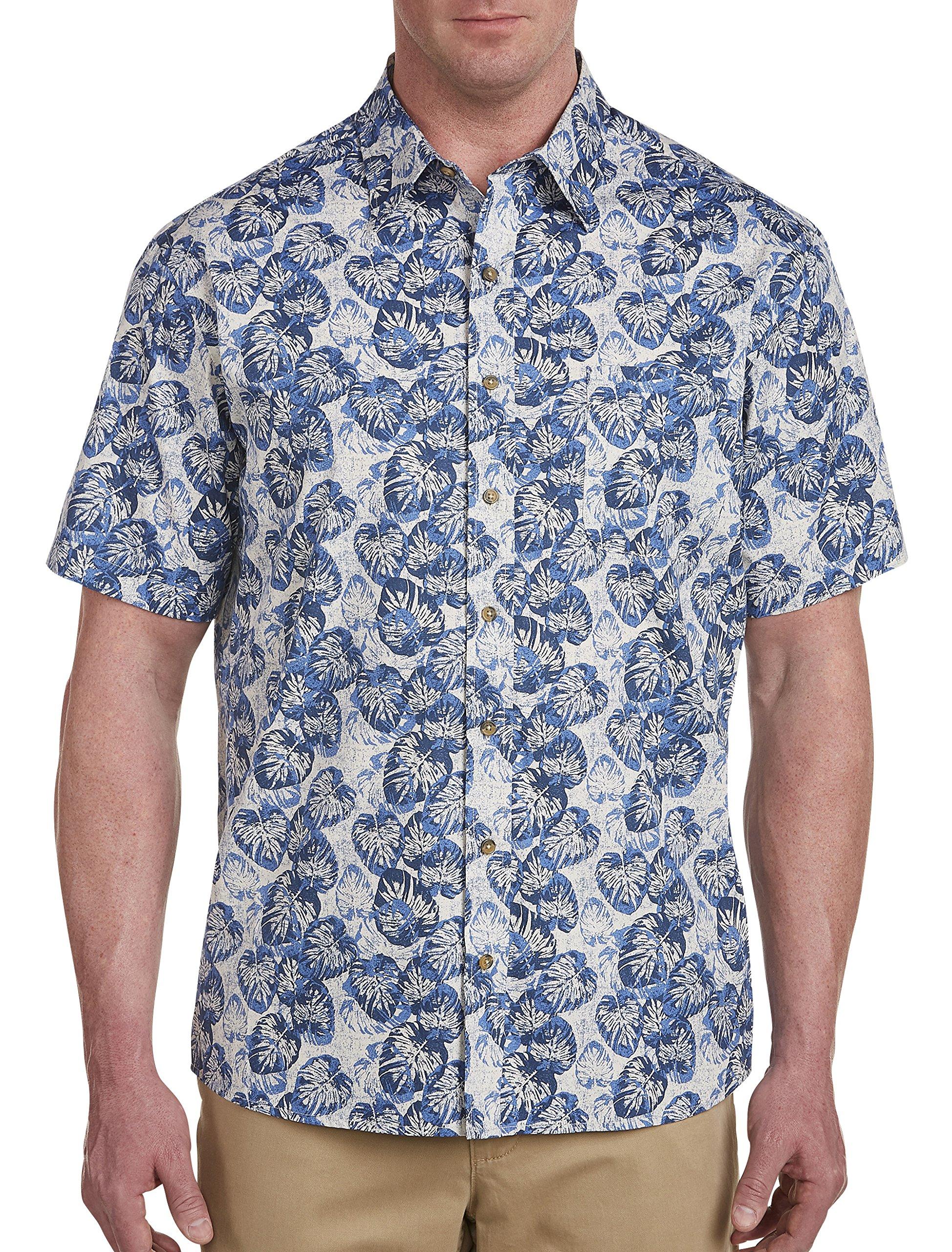 Harbor Bay by DXL Big and Tall Multi Leaf Print Sport Shirt