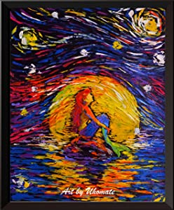 Uhomate Vincent Van Gogh Starry Night Posters Ariel Princess The Little Mermaid Inspired Home Canvas Wall Art Baby Gift Nursery Decor Living Room Wall Decor A026 (8X10)