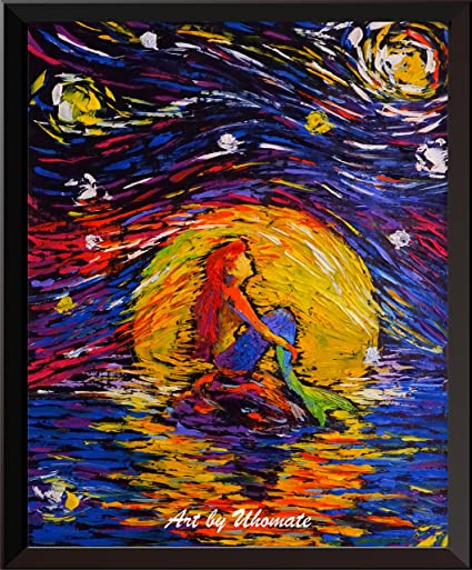5bbc75f63bfa Uhomate Vincent Van Gogh Starry Night Posters Ariel Princess The Little  Mermaid Inspired Home Canvas Wall