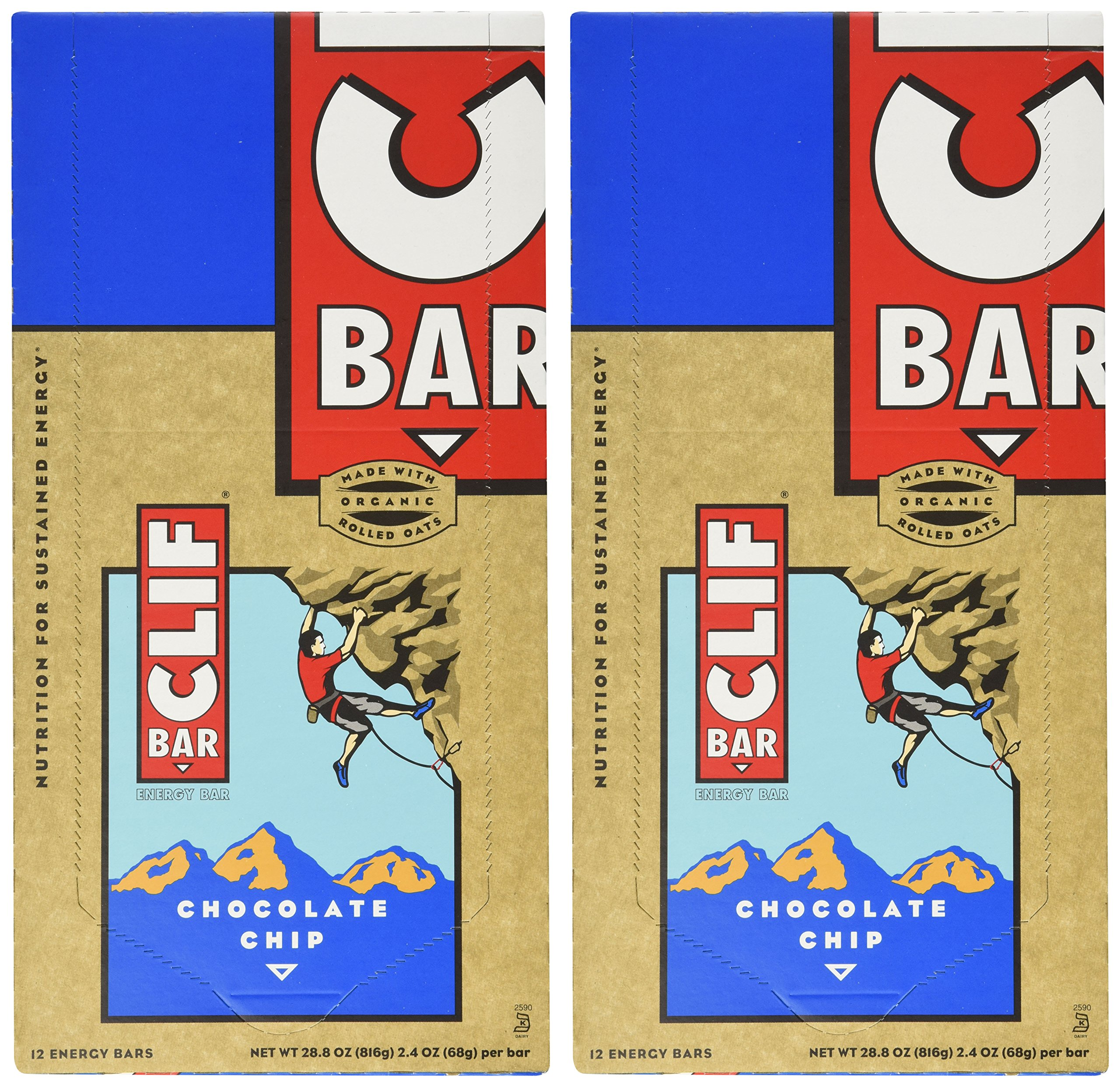 Clif Bar Energy Bar, Chocolate Chip, 2.4-Ounce Bars, 12 Count (Pack of 2) by Clif Bar