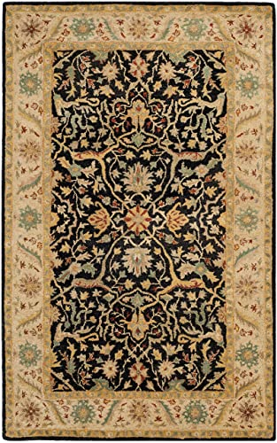 Safavieh Antiquities Collection AT14B Handmade Traditional Oriental Black Wool Area Rug 3 x 5