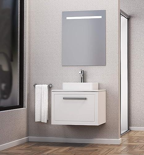 Baikal 830134155 Conjunto de Mueble de Baño con Lavabo sobre encimera y Espejo con Luces LED, Suspendido a la Pared, un Cajon, Melamina 16, Blanco Mate, 60 X 55 X 46 cm: Amazon.es: Hogar