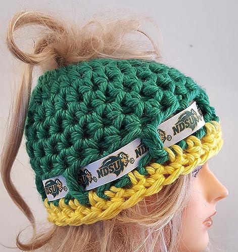 9c25fa63771 Amazon.com  Crochet North Dakota State Bison bun hat. Made by Bead Gs.  Ladies Size.  Handmade