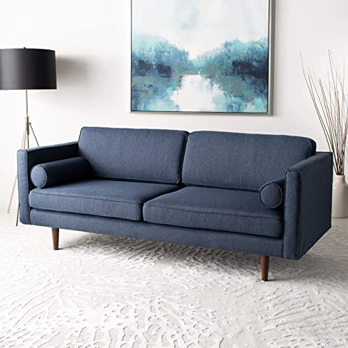 Safavieh Couture Home Hurley Mid-Century Modern Dark Blue and Dark Brown Sofa