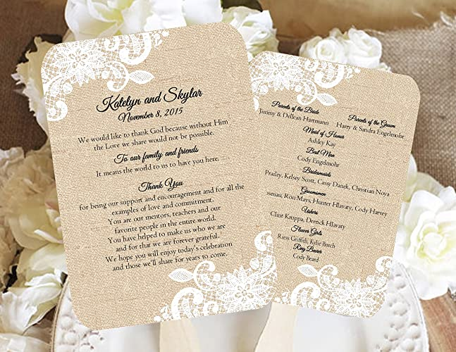 amazon com burlap and lace personalized wedding fan program wedding