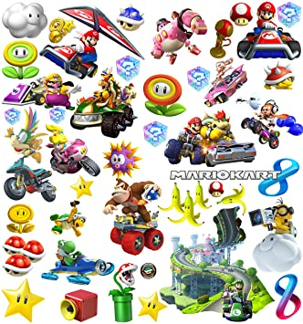 Amazing Mario Kart Stickers Wall Art Decorations For Kids