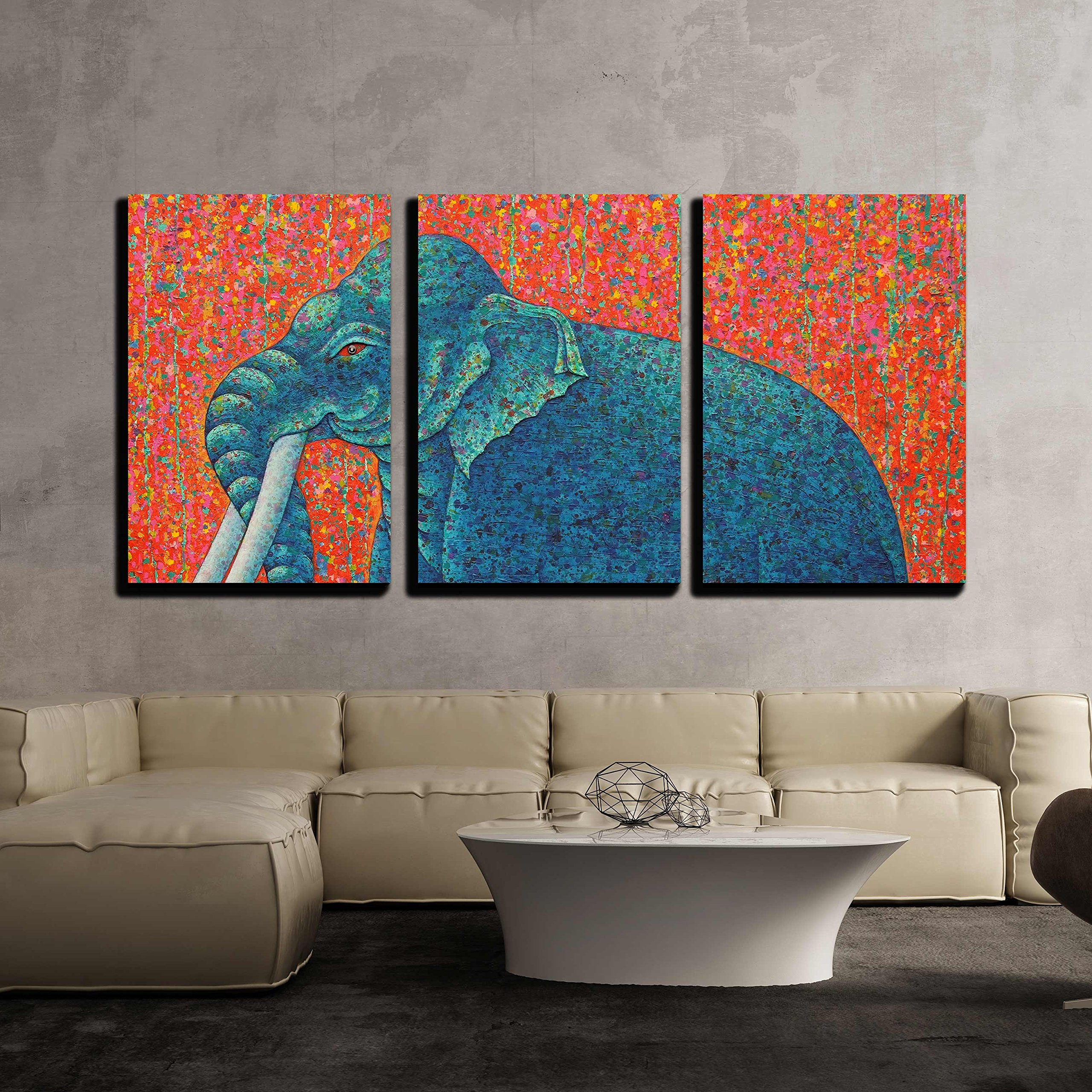 wall26 - 3 Piece Canvas Wall Art - Blue Elephant 2010. Original Acrylic Painting on Canvas.Tradition Thai Painting - Modern Home Decor Stretched and Framed Ready to Hang - 16''x24''x3 Panels by wall26