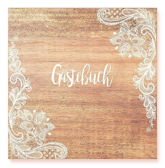 Rustikal 210 x 210 mm 144 Seiten Naturpapier Hochzeit Gästebuch Hardcover