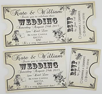 12 Personalised Vintage Ticket Style Shabby Chic Alice In