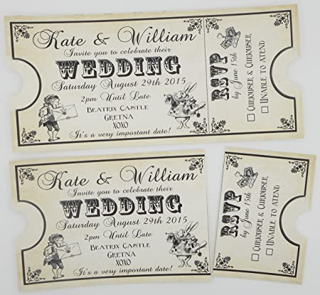 12 Personalised Vintage Ticket Style Shabby Chic Alice In Wonderland  Wedding Invitations (Birthday, Party