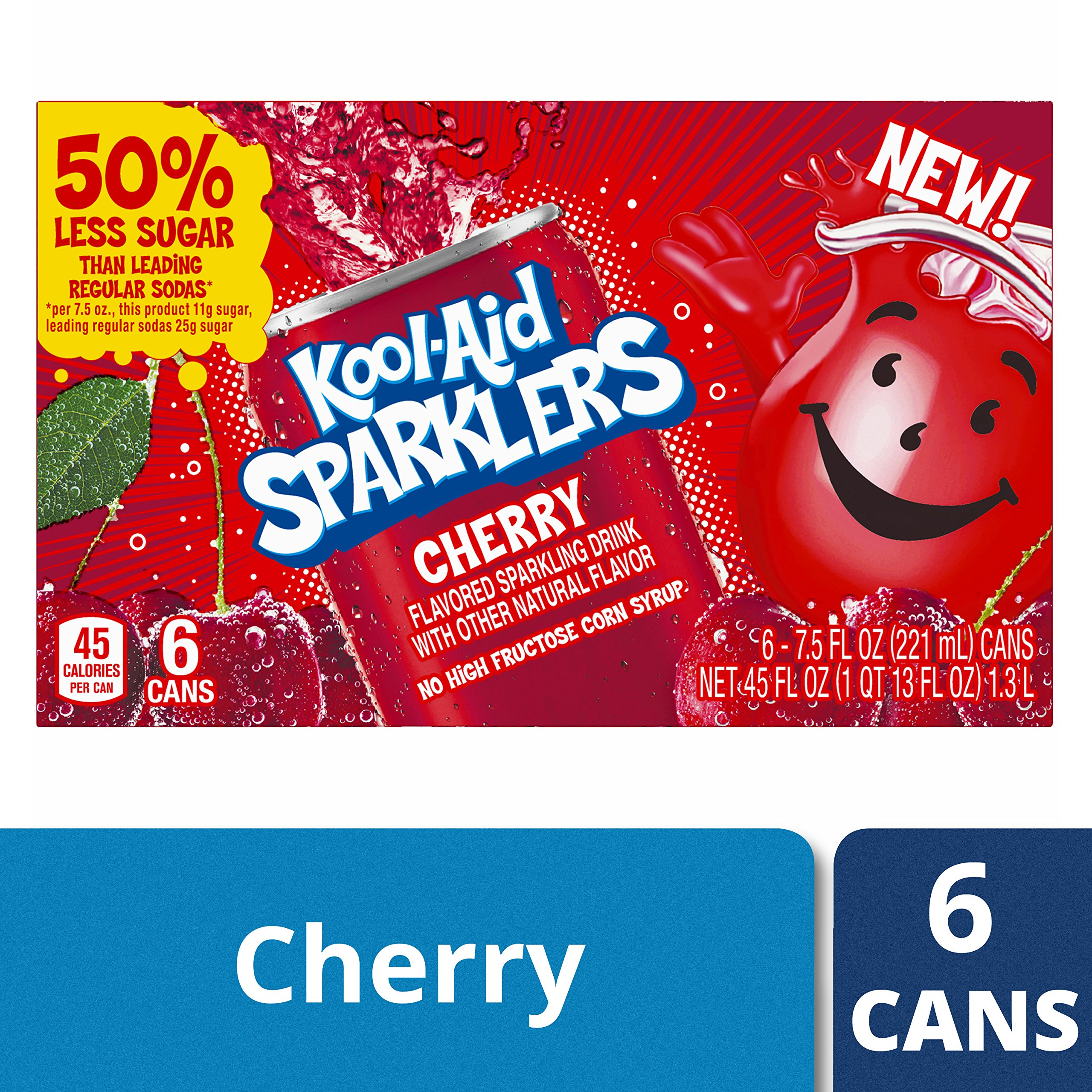 Kool-Aid Sparklers Cherry Drink, 6 Count, 45 Ounce (Pack of 4)