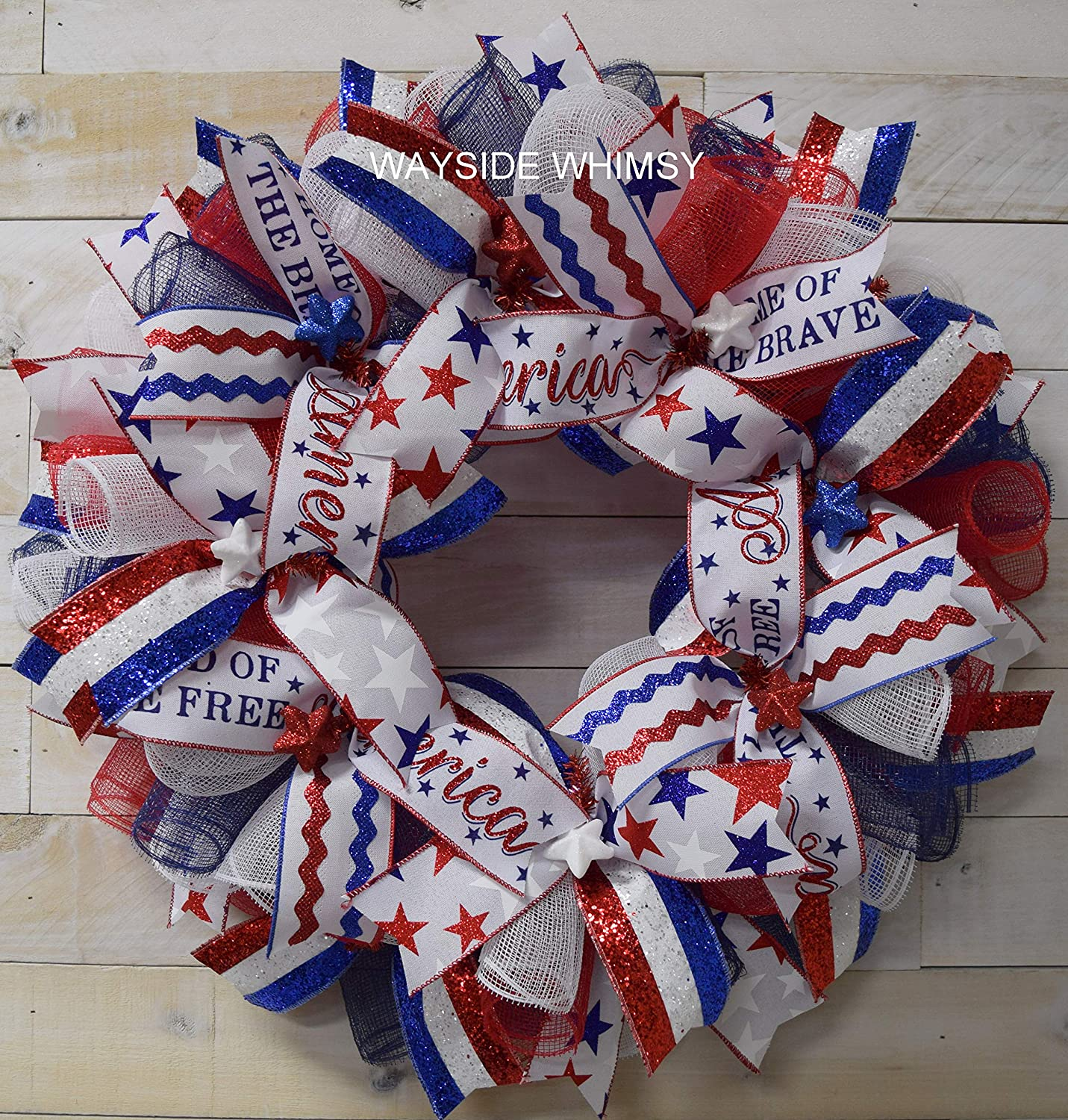 3774 Patriotic Wreath Red White and Blue Wreath 4th of July wreath