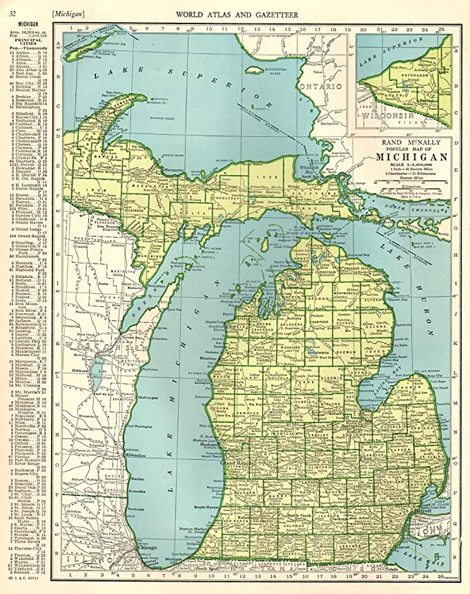 Amazon 1943 antique michigan map original vintage map of amazon 1943 antique michigan map original vintage map of michigan not a reprint home decor gallery wall art birthday wedding gift 1349 posters gumiabroncs Gallery