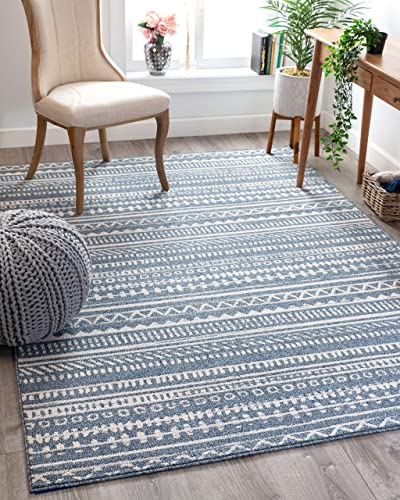 Well Woven Weston Blue Tribal Diamonda Striped Pattern Area Rug 8×11 7'10″ x 10'6″