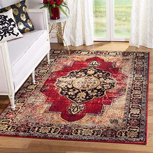 Safavieh Vintage Hamadan Collection VTH219A Oriental Antiqued Red and Multi Area Rug 8 x 10