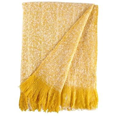 Rivet Oversized Ombre Stripe Brushed Weave Throw Blanket, 60  x 80 , Mustard, White