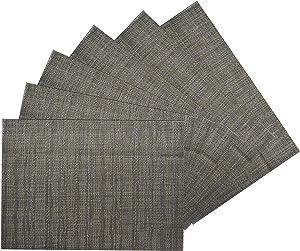Benson Mills Woven Vinyl/Metallic PLACEMATS Set of 6 (Metallic Charcoal, 13 X 18)