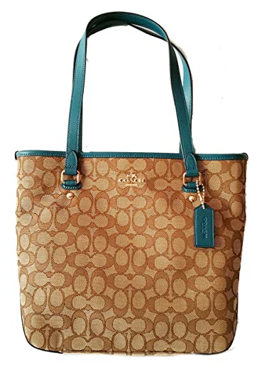 Coach Outline Signature Zip Top Tote Shoulder Bag