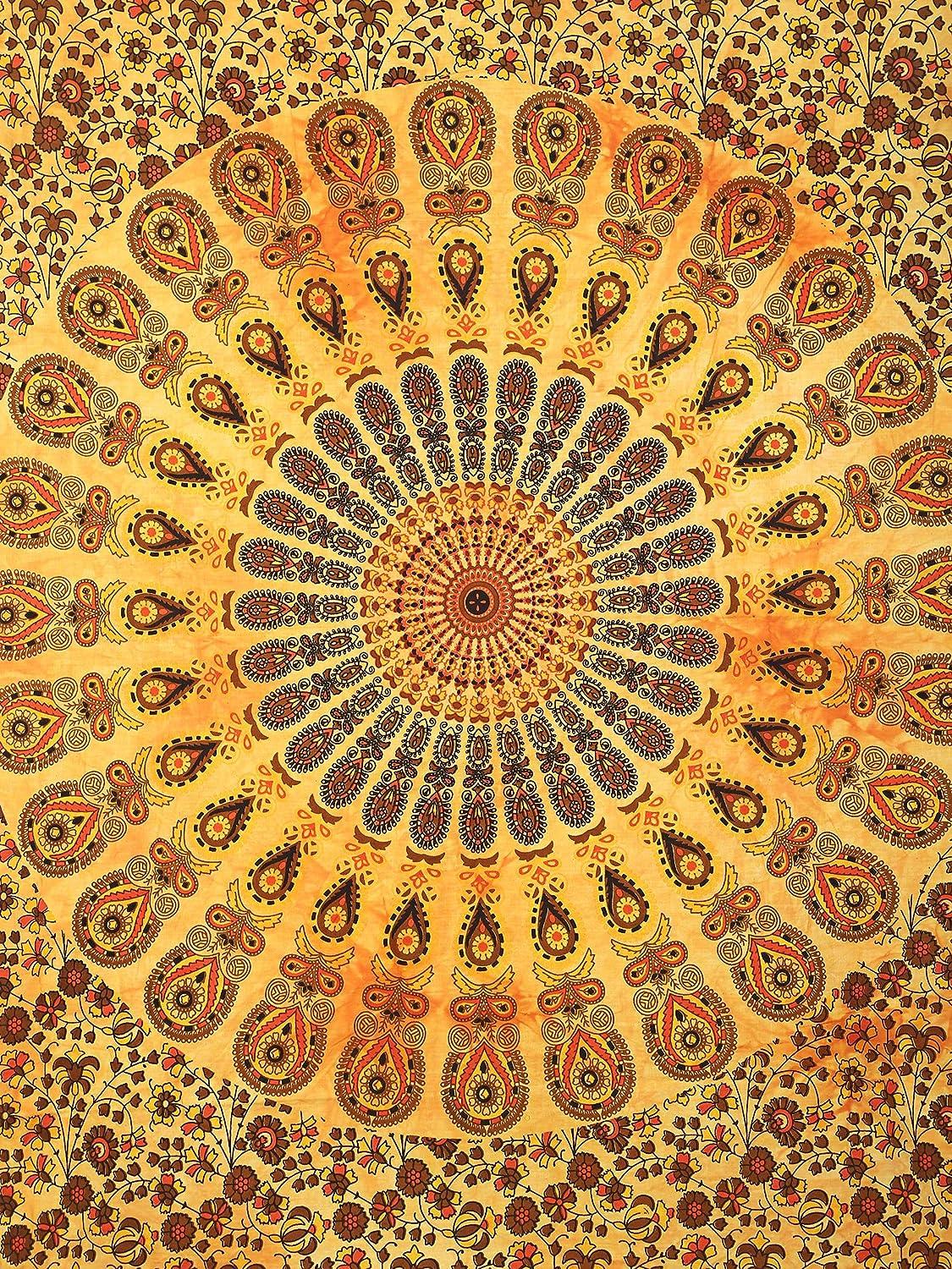 Charoli Enterprises Boh/ème Tie Dye Mandala Paon Affiche faite /à la main Coton Suspensions murales Couvre-lit ethnique Nappe de chambre Tapisserie