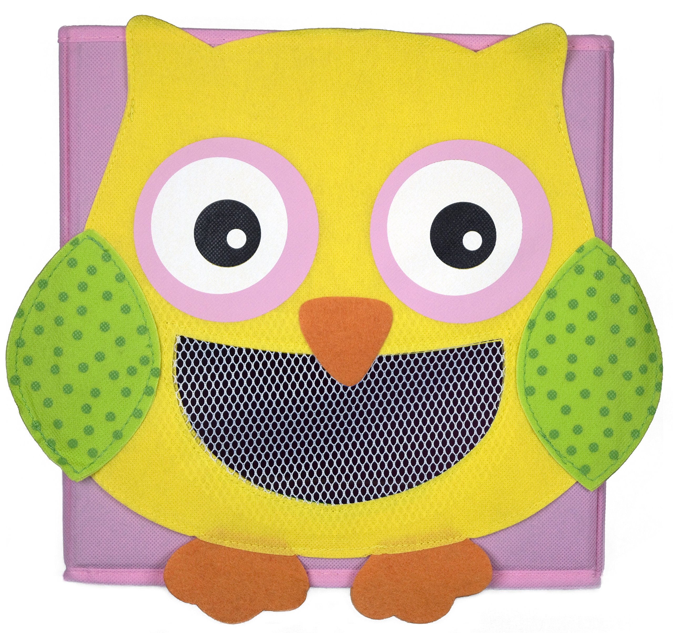 Cute Collapsible Storage Bins w/ View Window- Foldable cubes - 11x11 in. Folding Box (OWL)