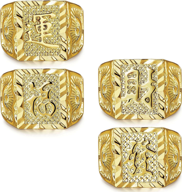 LOLIAS 4 Pcs Men's Gold Plated Ring Wedding Ring Kanji Ring Rich/Luck/Wealth Ring Set Adjustable