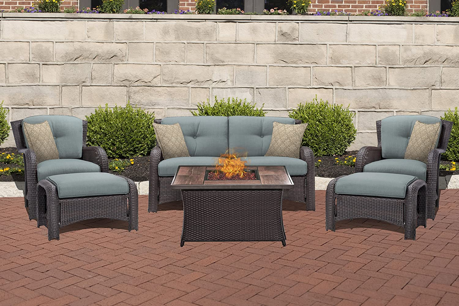 Hanover STRATH6PCFP-BLU-WG Ocean Blue Table Outdoor Patio 6 Piece Strathmere Lounge Set with Fire Pit, Wood Grain Top