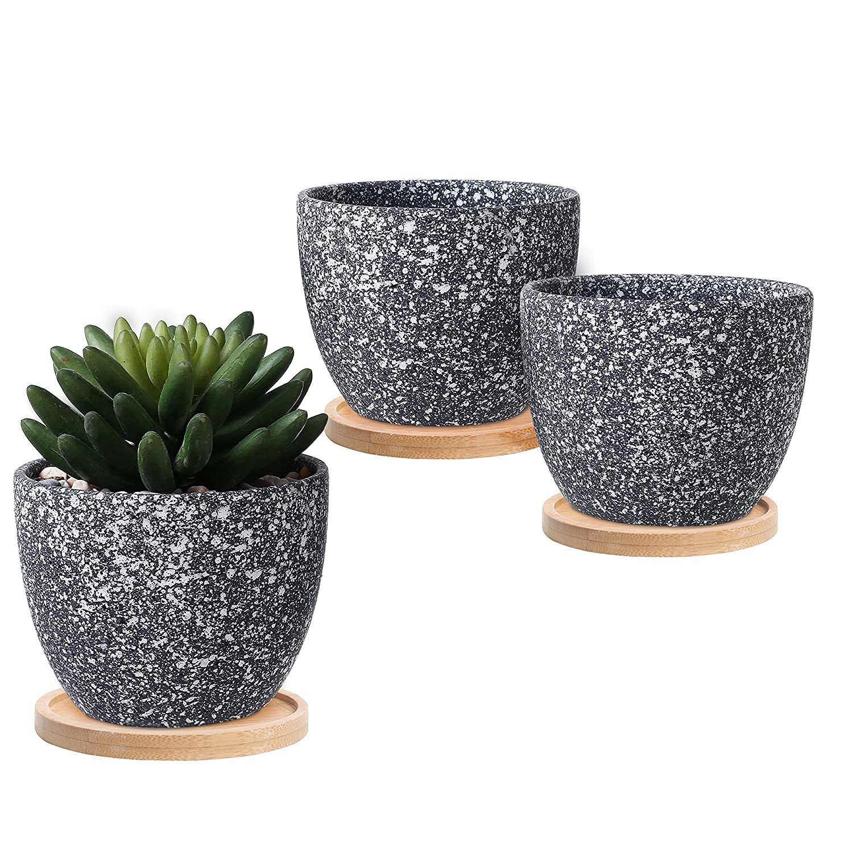 Small Dark Gray Speckled Glaze Succulent Planter Flower Pot w/Bamboo Saucers, Set of 3