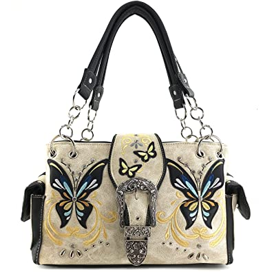 0945dc102cc6 Justin West Floral Embroidery Butterfly Rhinestone Buckle Stud Conceal  Carry Handbag Purse (Beige Handbag Only
