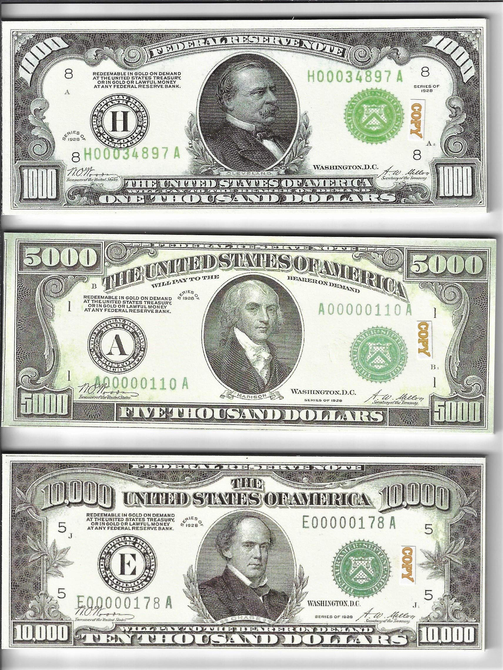 Custom Toys & Hobbies 20X $1000/5000/10,000 (1928) BILLS PROP MONEY/FAKE/PLAY. NOT LEGAL TENDER size 2.3x5.5 in. ONE SIDE ONLY