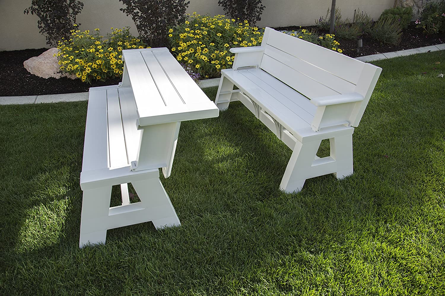 convert-a-bench, convert a bench, a bench, bench com, plastic bench that turns into a picnic table, convert a bench cushions, premiere products 5rcat resin convert a bench, bench to table conversion, plastic convertible bench picnic table, convert picnic table, premiere products, convert-a-bench