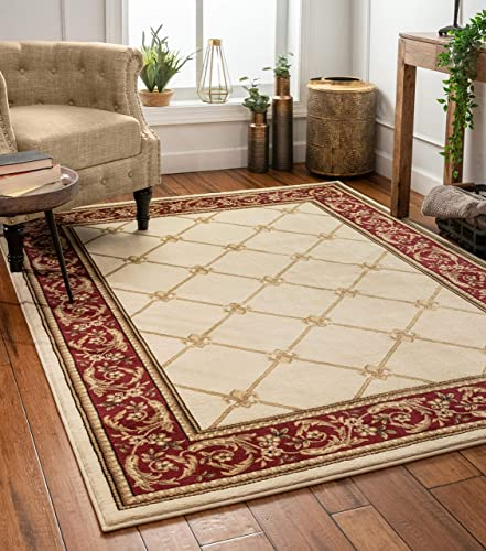 Patrician Trellis Ivory French European Formal Traditional 8×11 8×10 7'10″ x 10'6″ Area Rug Stain/Fade Resistant Shed Free Contemporary Floral Thick Soft Plush Living Dining Room Rug