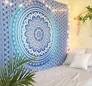 THE ART BOX Tapestry Blue Mandala Wall Hanging Psychedelic Tapestries Indian Cotton Twin Bedspread Picnic Sheet Wall Decor Blanket Wall Art Hippie Bedroom Decor