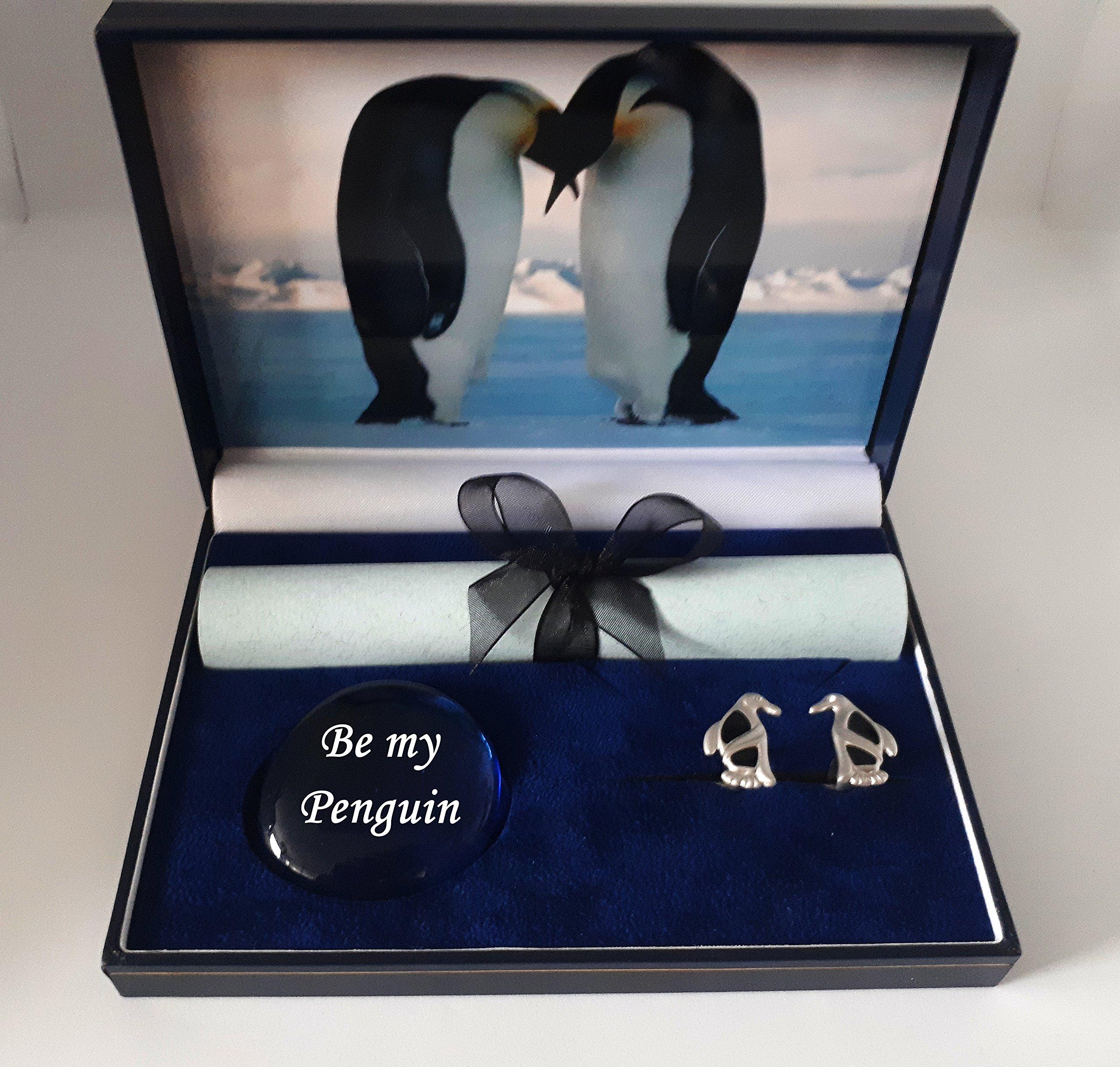 pebblez and penguinz Penguin Cufflink Box Emperors Kiss from