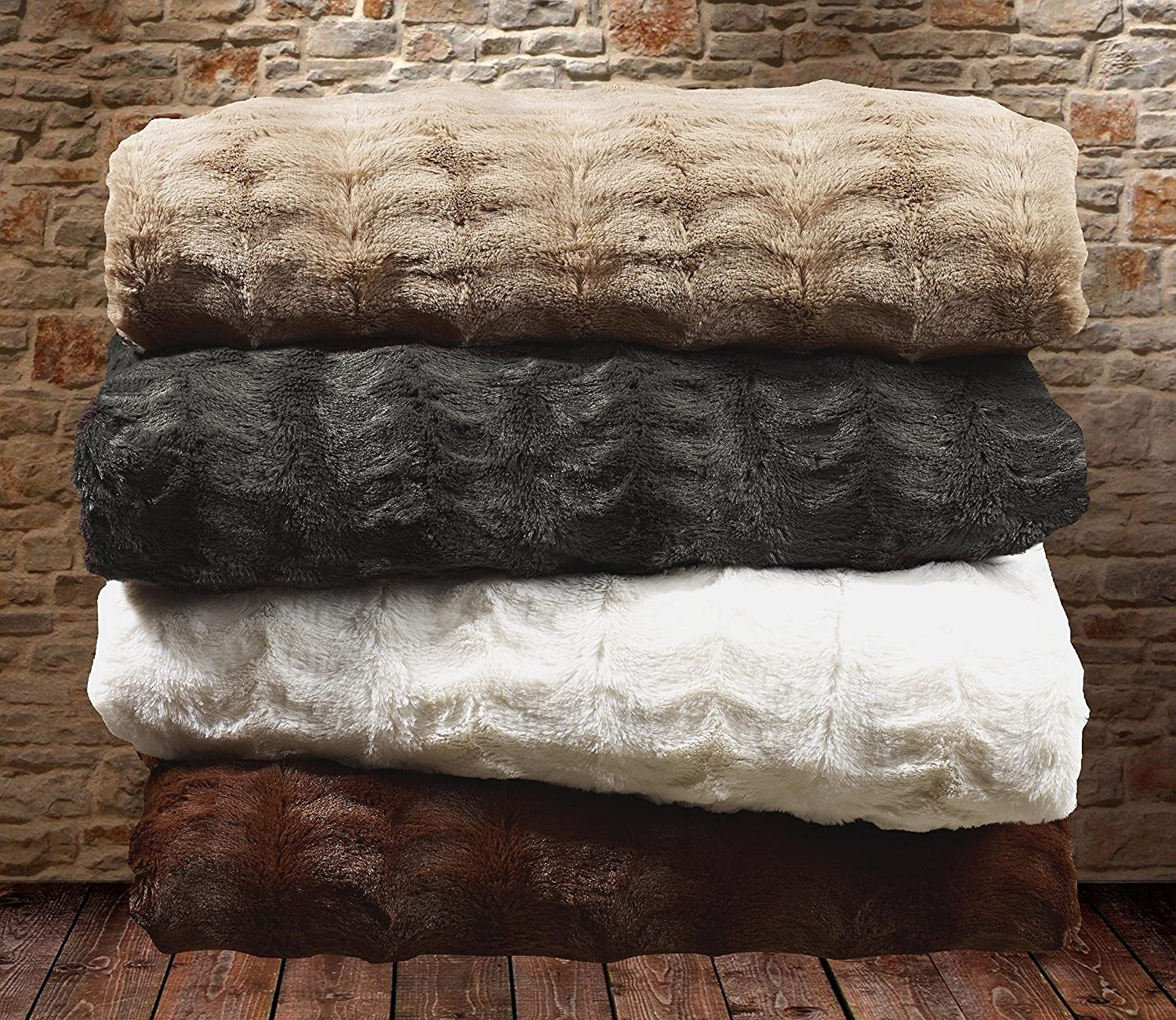 Luxurious Over-Sized Faux Fur Bed Throw Blanket/- Twin Chocolate Mink 68 x 86 Swift Home® COMIN18JU068209 68 x 86 Swift Home Embossed Faux Fur Throw Blanket /& Bedspread