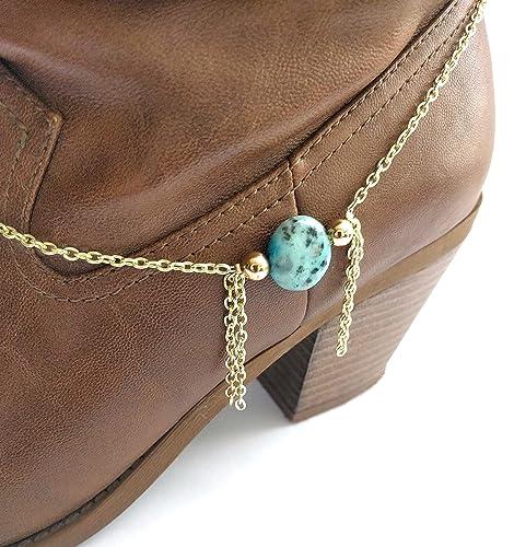 c32917e6f30 Amazon.com: Turquoise Boot Bracelet Chain Tassel 15 Inch Gold: Handmade