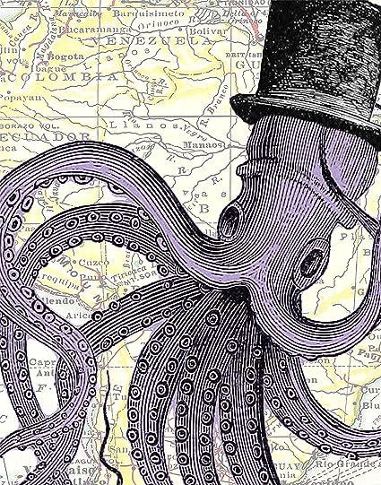 Purple America Map.Amazon Com 11x14 Purple Octopus In A Top Hat Octopus Decor