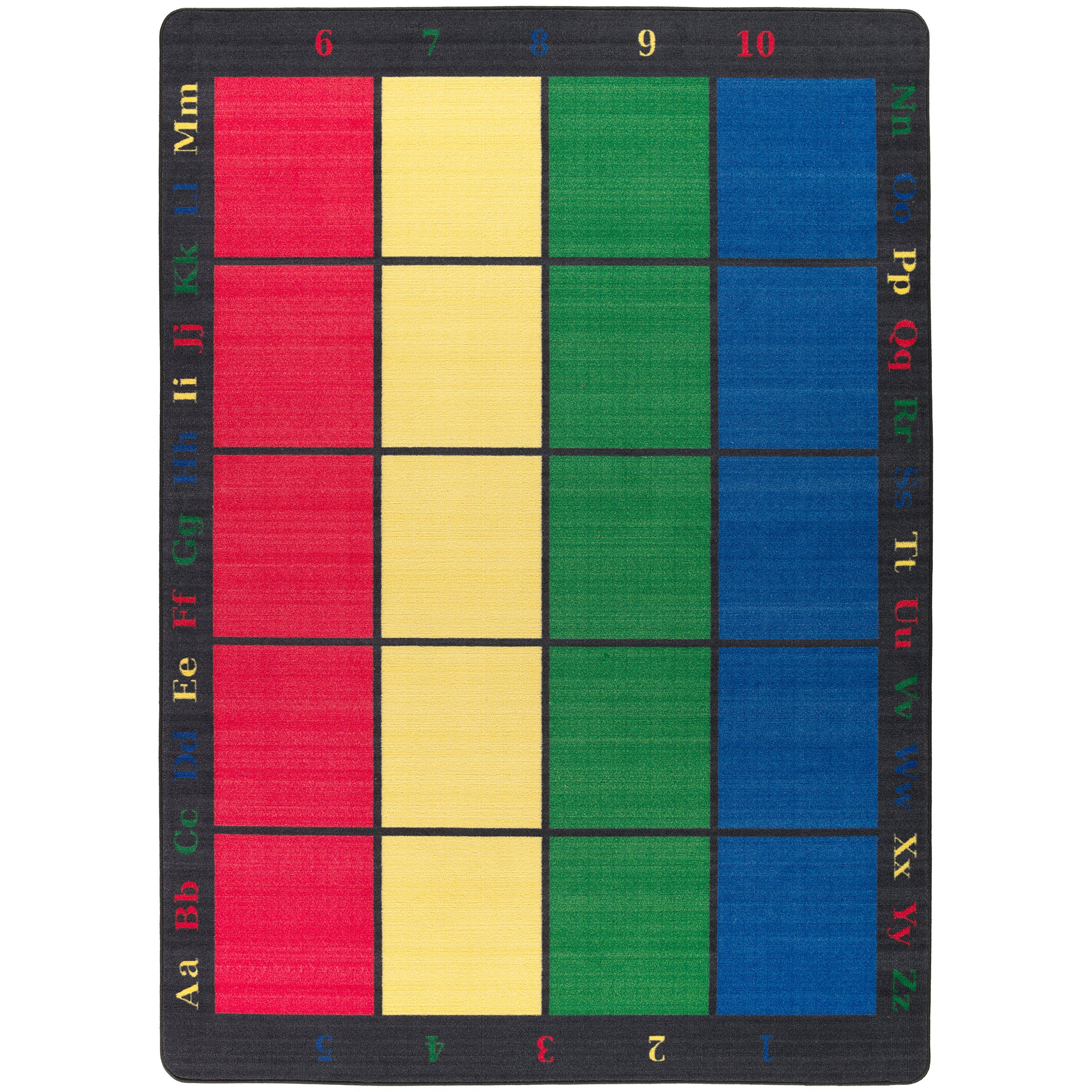 Flagship Carpets FE126-32A Learning Grid Seating Carpet, Colorful Letters and Numbers Border This Rug, Kids School, 5'10'' x 8'4'' Seats 15, 70'' Length, 100'' Width, Blue/Green/Yellow/Red
