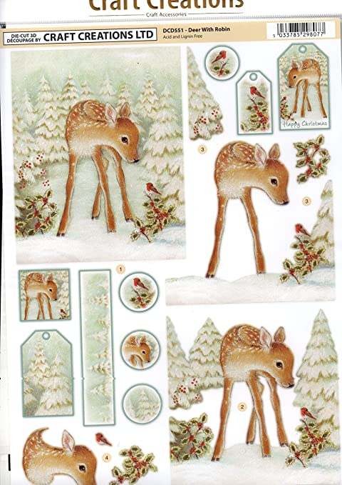 Step-By-Step Layout A4 210x297mm DCD551 Deer With Robin Craft Creations Die-Cut 3D Decoupage