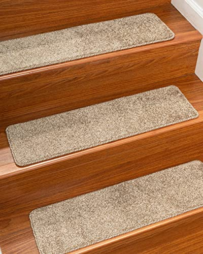 Natural Area Rugs Beige Canyon DIY Pet Friendly Polyester Carpet Stair Treads Rugs 9 x 29 13