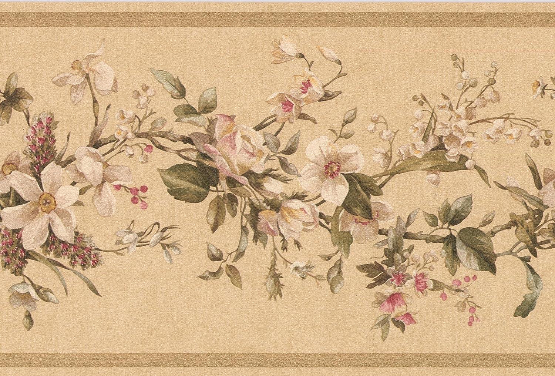 rouleau de 15/x 15,9/cm Pretty Floral color/é Fleurs Frise pour papier peint pour cuisine salle de bain salon