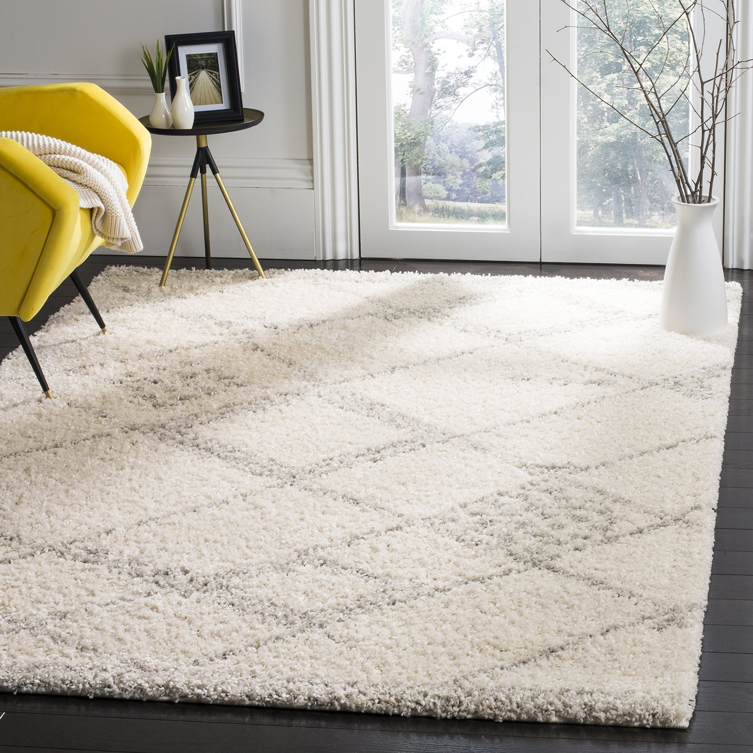 Safavieh Arizona Shag Collection ASG751G Ivory and Grey Area Rug (8' x 10') by Safavieh (Image #1)