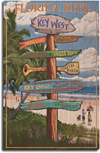 Lantern Press Key West, Florida - Destinations Sign (10x15 Wood Wall Sign, Wall Decor Ready to Hang)