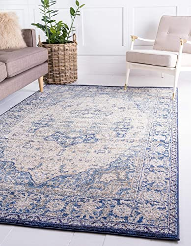 Unique Loom Augustus Collection Boho Traditional Vintage Blue Area Rug 10 6 x 16 5
