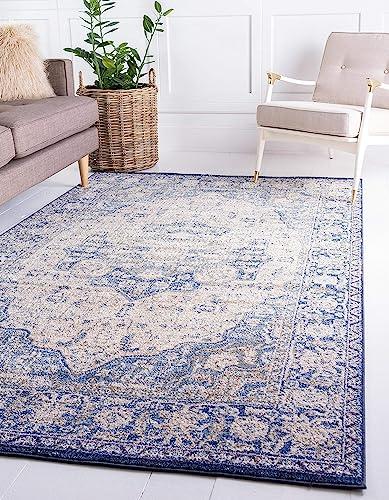 Unique Loom Augustus Collection Boho Traditional Vintage Blue Area Rug 10 6 x 16 5