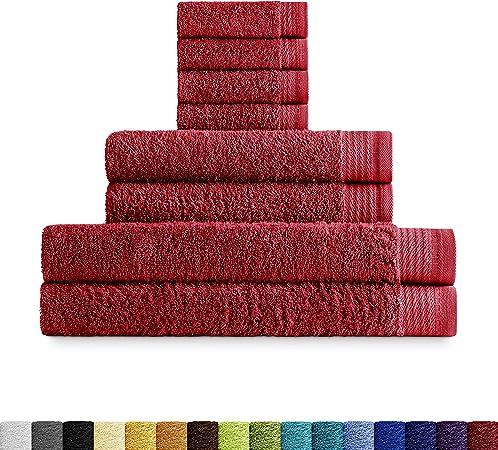Eiffel Textile Juegos de Toallas Calidad Rizo 600 gr, Algodón Egipcio 100%, Granate, Tocador Lavabo y Ducha, 8 Unidades: Amazon.es: Hogar