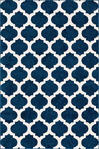 HomeWay Pattern Rugs – Fine Trellis Lattice Modern Area Rug Blue 5 x 7 Carpet