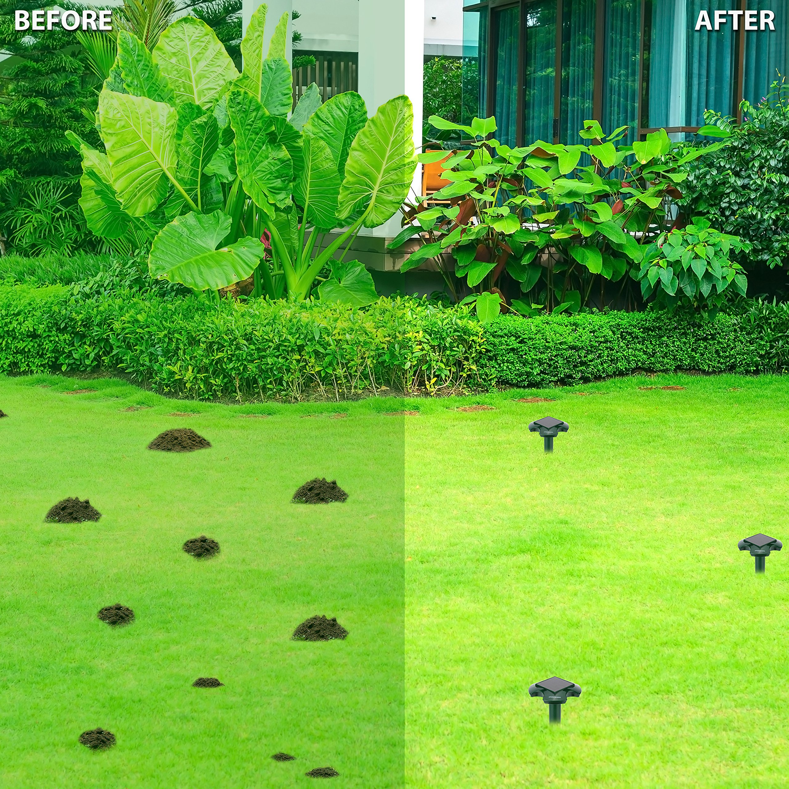 Eradware Solar Powered Mole Repellent (2 Pack), Ultrasonic Pest Repeller, Vole Rodent Repellant, Also Repels Away Snake Gopher Chipmunk, Use in Outdoor Garden Lawn, Non-toxic Eco-friendly Humane by Eradware (Image #6)