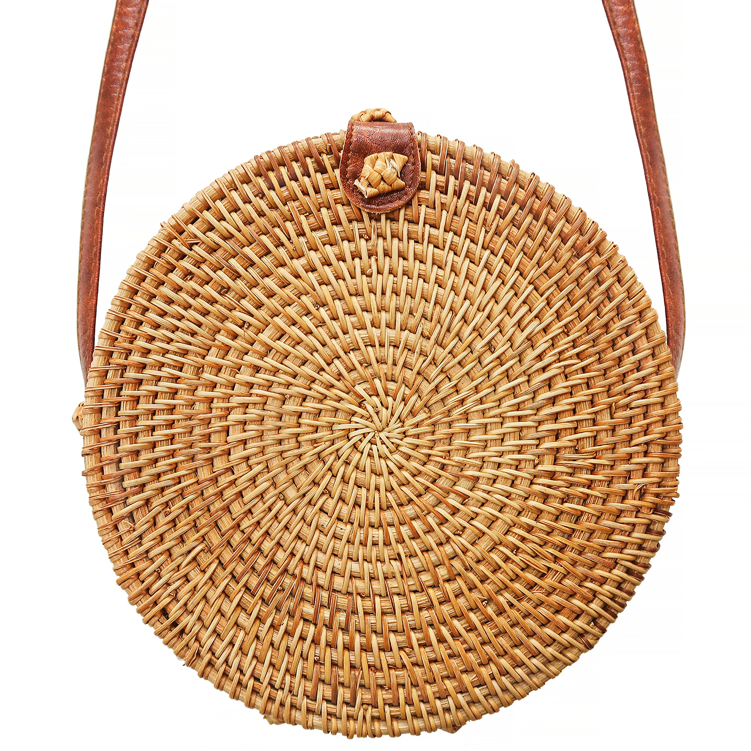 Round Rattan Bali Bag - Crossbody Purse with Snap Clasp by Taste of Tropical